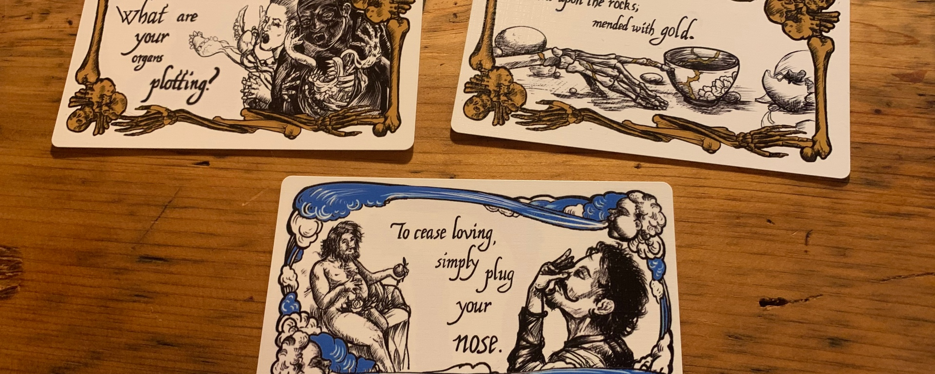 Three Cards from the Negocios Infernales Deck Used to Write This Poem